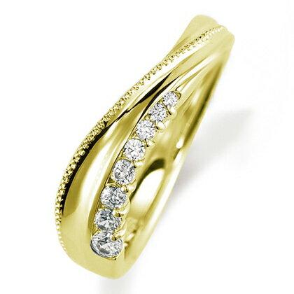 ペアリング(女性用) 結婚指輪 マリッジリング 結婚記念 K18イエローゴールド ダイヤモンドリング 《Nourish M0846L》 【刻印無料 ケース付き 送料無料】 【RCP】 【532P17Sep16】 高品質・ハイクォリティー