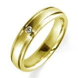 ペアリング(女性用) 結婚指輪 マリッジリング 鍛造製法 K18イエローゴールド ダイヤモンドリング 《Solid M0898L》 【刻印無料 ケース付き 】【レビューを書いてクオ