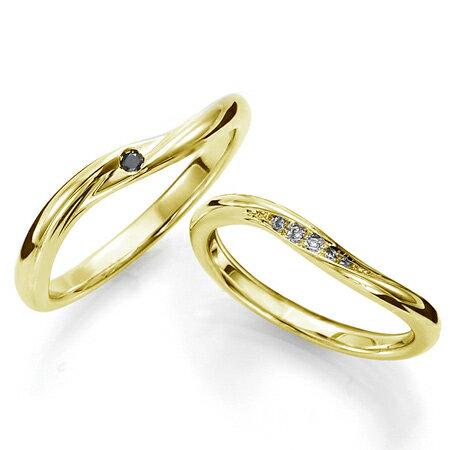 ペアリング(2本セット) 結婚指輪 マリッジリング 結婚記念 K18イエローゴールド 《Sympho M0911》 ダイヤモンドリング ギフト 【刻印無料 ケース付き 送料無料】 【RCP】 【532P17Sep16】 高品質・ハイクォリティー