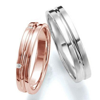 ペアリング(2本セット) 結婚指輪 マリッジリング 結婚記念 K18ピンク&ホワイトゴールド 《Wish M0251》 ダイヤモンドリング ギフト 【刻印無料 ケース付き 送料無料】 【RCP】 【532P17Sep16】 高品質・ハイクォリティーうすい