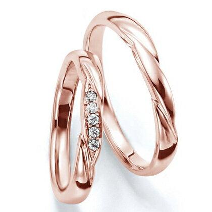 ペアリング(2本セット) 結婚指輪 マリッジリング 結婚記念 K18ピンクゴールド 《Wish M0030》 ダイヤモンドリング ギフト 【刻印無料 ケース付き 送料無料】 【RCP】 【532P17Sep16】 高品質・ハイクォリティー
