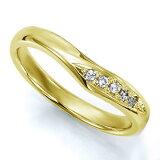 ペアリング(女性用) 結婚指輪 マリッジリング 結婚記念 K18イエローゴールド ダイヤモンドリング 《Wish M0036L》 【刻印無料 ケース付き 】【レビューを書いてクオカ