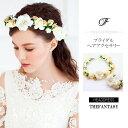 花かんむり 花冠 バラ 花かんむり リストレット 2点セット ヘッドドレス 白 髪飾り コ