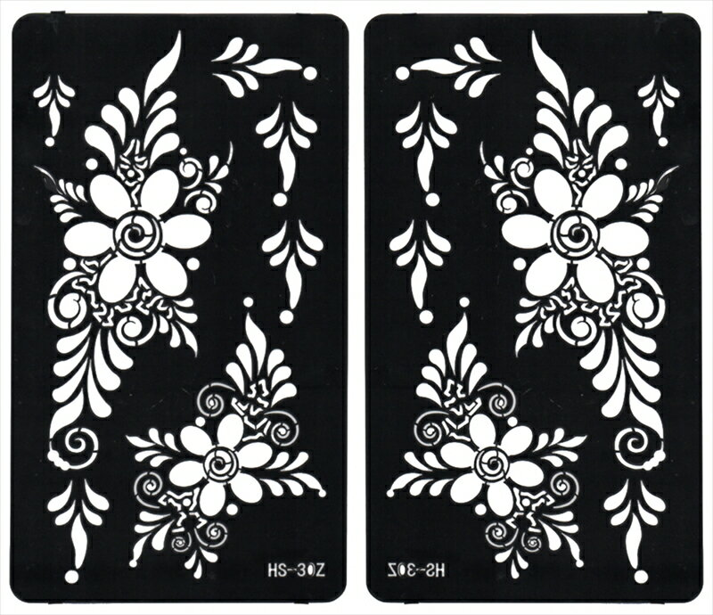 (ファンタジー) TheFantasy ヘナタトゥー グリッタータトゥー 用の ステンシルシート 左右セット 花 hs30