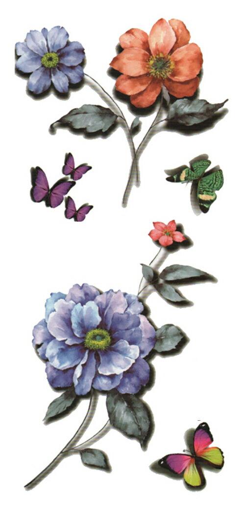 (ファンタジー) TheFantasy タトゥーシール 3D 立体感 蝶 花 3d44 【レギュラー】