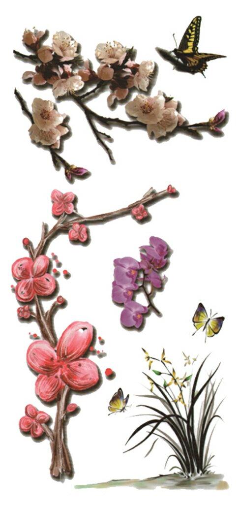 (ファンタジー) TheFantasy タトゥーシール 3D 立体感 蝶 花 3d58 【レギュラー】
