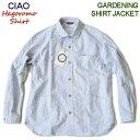 CIAO/羽衣シャツ 【ガーデニングシャツジャケット】 日本製/オックスフォード/ラウンドカラー 29-111 90)ネイビーストライブ
