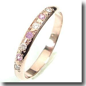 【ピンクゴールドダイヤ&ピンクサファイヤ7個付け 】人気のピンクゴールドリング【刻印・文字彫り無料】結婚指輪・マリッジリング・記念日・ギフト【smtb-m】59439【送料無料_0906】