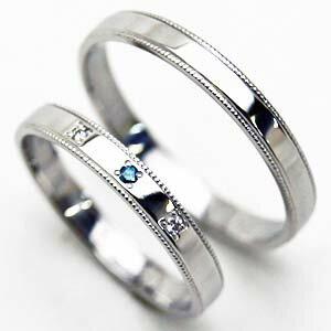 ホワイトゴールドダイヤ&ブルーダイヤ リング【お得な2本セット価格/送料無料】ペアリング中心石が選べます【刻印・文字彫り無料】結婚指輪 マリッジリング 指輪 ring 記念日 ギフト P12Sep14 熟練のクラフトマンが心を込めておつくりします。セミオーダージュエリーが2本セットでこの価格!厳選のダイヤ留め