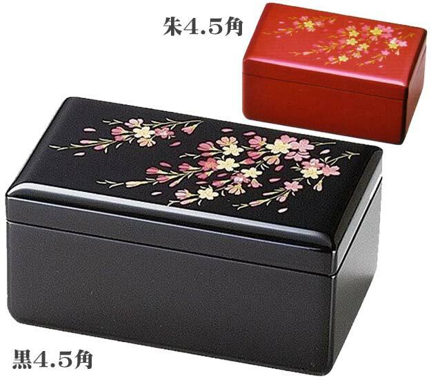 オルゴール付宝石箱 桜 黒8.0引出し付(19-19-4黒/19-19-3朱)