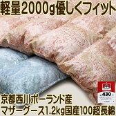 京都西川羽毛布団ポーランドマザーグース430dpシングル100超長綿【送料無料】