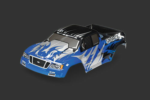 HPI 7771 Nitro GT-2 truck paint body (black/blue/silver)