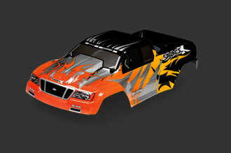 HPI 7773 Nitro GT-2 truck paint body (black/yellow/orange)
