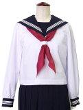 白長袖セーラー服(紺衿?三本線)B体【N-SL28B】18B