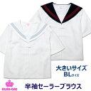 セーラー服 夏用 白 半袖 前開き 大きいサイズ BL セーラーブラウス クリオリ【日本製】