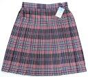 制服スカート【大きいサイズ】【WKR307】W75~85(KURI-ORIクリオリ 白黒ピンクレースチェック 丈48