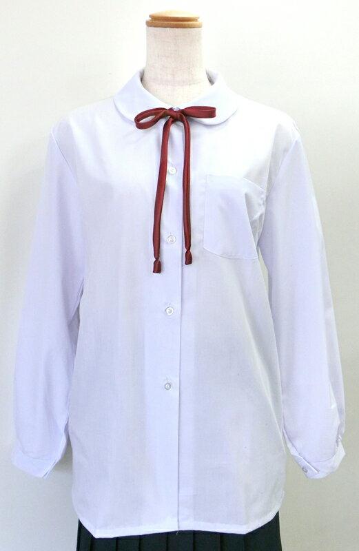 【メール便OK】女子スクールブラウス 白 丸衿 長袖175~185 日本製 【ラッキーシール対応】