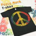 福袋対象 Tシャツ 半袖 ピースマーク フラワー ファッション メンズ レディース ヒッピー バンド ミュージシャン ラブ&ピース ラブ ピース 愛 平和