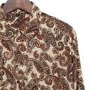 シャツ メンズ ペイズリー M L アイボリー オレンジ ゴールド 【メンズファッション カジュアルシャツ 長袖シャツ ちょいワル チンピラ ヤンキー オラオラ系 黒 大きいサイズ バンド ミュージシャン ステージ衣装 ロック ストーンズ スライダーズ】