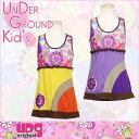 ショッピングUNDER レトロ フラワー ワンピース UNDER GROUND KID'S ファッション 女の子 キッズ 子供服 ポップ カラフル ワンピース ふんわり カワイイ 可愛い