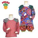 子供服 カラフル カットソー 長袖 女の子 1歳サイズ キッズファッション ポップ レトロ カラフル かわいい 個性的