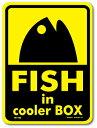 ショッピングクーラーボックス 釣りステッカー パロディアイコン フィッシュ イン クーラーボックス イエロー FS185 フィッシング ステッカー 釣り グッズ