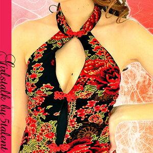 【新作】個性派エンパイアチャイナ★中華デザインの進化系★中ミニx背面ハイスリットロングチャイナドレス