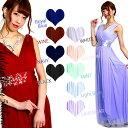 ◆あす楽対応◆両面Vカットの上品な高級女神系★シフォンの多重奏で弱点克服★太めタンクドレス/大きいサ