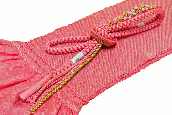 【振袖用】パール調飾り付き帯締め正絹絞り帯揚げ/帯締め帯揚げセット【薄ピンク色】 ■w-NO,6