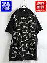 90s USA製 ★ Fashion Victim Skeleton Sex セックス プリント 半袖 Tシャツ ( メンズ 男性 L )90年代 アメリカ製 エロT 48手 黒 古着 USED