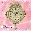 エンジェルガーデンW振り子時計wa73【ホワイト】【ウォールクロック】【天使雑貨】【かわいい】