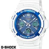 ★期間限定ポイント10倍★ CASIO G-SHOCK ジーショック 電波ソーラー 白 ホワイト ライトブルー デジタル アナログ ブランド メンズ 腕時計 AWG-M100SWB-7A G−SHOCK