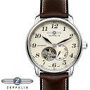 ツェッペリン 腕時計 ZEPPELIN 時計 自動巻き 腕時計 メンズ 7666-5 アイボリー ブラウン