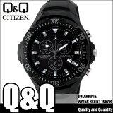 シチズン キューアンドキュー CITIZEN Q&Q ソーラー腕時計 SOLARMATE (ソーラーメイト) アナログ表示 クロノグラフ機能付き 10気圧防水 ウレタンバンド ブラック H034-002 メンズ