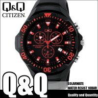 シチズンキューアンドキューCITIZENQ&Qソーラー腕時計SOLARMATE(ソーラーメイト)アナログ表示クロノグラフ機能付き10気圧防水ウレタンバンドレッドH034-006メンズ
