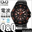 腕時計 電波ソーラー CITIZEN Q&Q HG14-325 シチズン メンズ 腕時計 電波 腕時計 電波 ブラック オレンジ