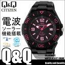 腕時計 電波ソーラー CITIZEN Q&Q HG14-335 シチズン メンズ 腕時計 電波 腕時計 電波 ブラック ピンク