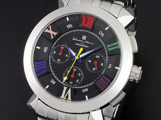 腕時計 メンズ サルバトーレマーラ SALVATORE MARRA SM14107-SSBKCL ブラック マルチカラー シルバー クロノグラフ 防水 サルバトーレマーラ SALVATORE MARRA 腕時計
