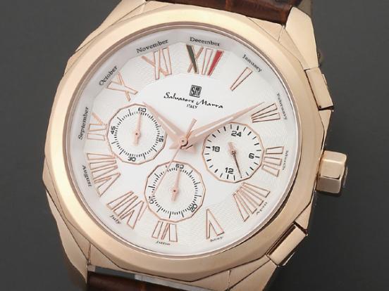 腕時計 メンズ サルバトーレマーラ SALVATORE MARRA SM14122-PGWH ピンクゴールド ホワイト レザー クロノグラフ サルバトーレマーラ SALVATORE MARRA 腕時計