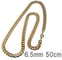 喜平 ネックレス ゴールド金6.5mm幅50cm/喜平ネックレス チェーンゴールドキヘイ24Kコーティング合金/メール便可