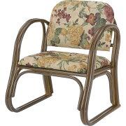 【送料無料】籐樂々便利座椅子 H25S109B【イス 椅子 チェア 花柄 背もたれ 肘置き ひじかけ 和室 洋室 便利 軽量 軽い 座椅子】