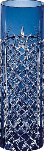 【送料無料】カガミクリスタル 江戸切子 一輪挿し F654-1844CCB 【本州九州四国送料無料 インテリア 花瓶 一輪挿し ガラス クリスタル ブルー ギフト 誕生日 プレゼント 贈り物 お祝い お返し 新築祝い おしゃれ】