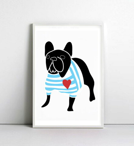 NICE MICE FOR YOU | FRENCH BULLDOG IN BRETON SHIRT (black) | A3 アートプリント/ポスター【フレンチブルドッグ 動物 犬 北欧 かわいい インテリア】