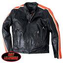 【送料無料 】米国直輸入 ホットレザー Motorcycle Leather Jacket with Orange & Cream Arm Stripes モーターサイクル レザー ジャケット ウィズ オレンジ&クリーム アーム ストライプス 本革 ライダースジャケット 革ジャン インナー取外OK ベント機能装備
