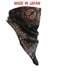 【送料無料!(条件あり)】ブラック&レッド ペイズリー フェイスマスク 日本製!マジックテープのワンタッチで海賊巻、スカルキャップ、スカーフ、フェイスマスクの使い分けが可能!一瞬でオシャレに!UVカット・日焼け防止・スノーボード、スキー等