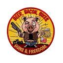 【送料無料!】日本未発売 セール価格 ホットレザー Beer Bacon Bikes and Guns Patch ビアベーコンバイクスアンドガンズ ワッペン 豚 ピッグ 丸型 パッチ 米国バイカー専門アパレルブランド HOTLEATHERS 直輸入 ウェアのカスタムに 布製 アイロン対応 サイズ小