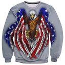 【送料無料!】日本未発売! [Eagle Wing Flag Print Pullover Sweatshirts] イーグル・ウィング・フラッグ・プリント・プルオーバー・ス..