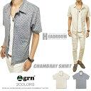 grn 夏 半袖 カジュアルシャツ メンズ grn ペイズリー モノグラム ジャガード シャンブレーシャツ ジーアールエヌ