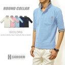 ポロシャツ メンズ ラウンドカラー グレンチェック襟 5分袖 ポロ ロールアップ