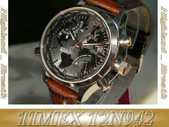 ●Timex Timex watch TIMEX T2N942 ≪ world thyme ≫ leather belt